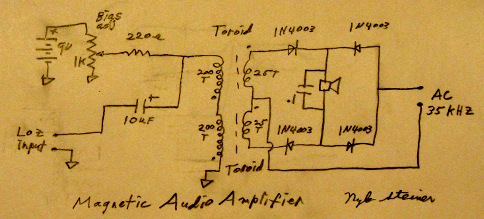 Homemade Magnetic Audio Amplifier. on simple amplifier diagram, amplifier power supply, amplifier chassis, amplifier capacitor, amplifier installation, car stereo amp installation diagram, amplifier schematic, amplifier speaker, amplifier cable, amplifier block diagram, circuit diagram, amplifier parts, amplifier circuit, bridging 4 channel amp diagram, amplifier cooling system,